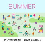 summer outdoor scene with... | Shutterstock .eps vector #1025183833