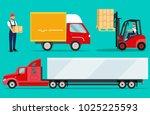 logistics illustrations set.... | Shutterstock .eps vector #1025225593