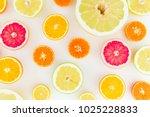 citrus fruit pattern made of... | Shutterstock . vector #1025228833
