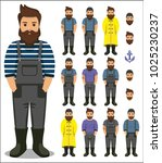 set of fisherman sailor  seaman ...   Shutterstock . vector #1025230237