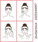 young woman with acne applies... | Shutterstock .eps vector #1025244097