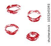 lipstick print set vector...