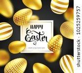 easter golden egg with... | Shutterstock .eps vector #1025259757