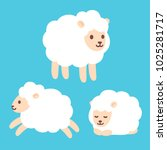 cute cartoon baby sheep drawing ... | Shutterstock .eps vector #1025281717