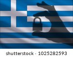 greece closed lock in the hand. ... | Shutterstock . vector #1025282593