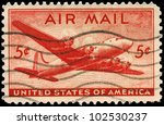 USA - CIRCA 1946: A Stamp printed in USA shows the Douglas DC-4 Skymaster, circa 1946 - stock photo