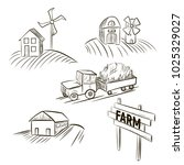 sketch of hands drawing a farm. ... | Shutterstock . vector #1025329027
