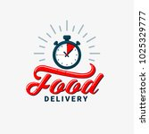 food delivery icon. timer and... | Shutterstock .eps vector #1025329777