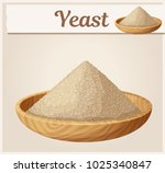 dry yeast in wooden plate... | Shutterstock .eps vector #1025340847