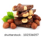 Hazelnuts Chocolate On White...