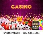 casino dice banner signboard on ... | Shutterstock .eps vector #1025363683