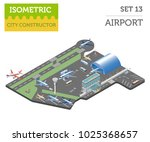 3d isometric airport and city... | Shutterstock .eps vector #1025368657
