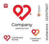 modern red heart line logo.... | Shutterstock .eps vector #1025370637