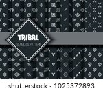 Tribal seamless ethnic background stylish primitive geometric patterns trendy print modern abstract wallpaper with grunge texture vector illustration. Monochrome ornament fabric textile | Shutterstock vector #1025372893