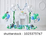 one year birthday decorations.... | Shutterstock . vector #1025375767