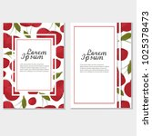 red cherry card  frame. vintage ... | Shutterstock .eps vector #1025378473