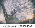 abstract double exposure of... | Shutterstock . vector #1025384587