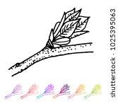 vector kidney bud with leaves... | Shutterstock .eps vector #1025395063