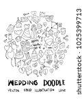 love doodle illustration circle ... | Shutterstock .eps vector #1025399713
