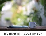 white heart shape cup and... | Shutterstock . vector #1025404627