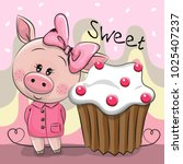 greeting card cute cartoon pig... | Shutterstock .eps vector #1025407237