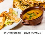 plates with lunch dishes on... | Shutterstock . vector #1025409523