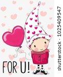 Cute Cartoon Gnome With Balloo...