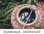 baked clay water jar with... | Shutterstock . vector #1025414233
