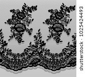 seamless vector black lace... | Shutterstock .eps vector #1025424493