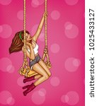 vector sexy girl on a swing in... | Shutterstock .eps vector #1025433127