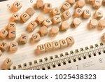 hobby word on wooden cubes....   Shutterstock . vector #1025438323