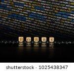 hobby word on wooden cubes....   Shutterstock . vector #1025438347
