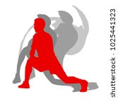 sporty man in red doing warm up ... | Shutterstock .eps vector #1025441323