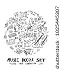 music doodle illustration... | Shutterstock .eps vector #1025445307