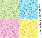 hand drawn seamless patterns... | Shutterstock . vector #102545393