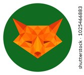 fox in lowpoly style on forest... | Shutterstock .eps vector #1025466883