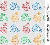 Seamless Pattern With Retro Bi...