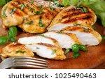 sliced juicy  tender chicken... | Shutterstock . vector #1025490463