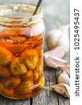 Tasty Preserved Garlic In Jar.