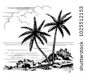 palm and sea vector sketch.... | Shutterstock .eps vector #1025512153