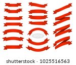 red flat vector ribbons banners ... | Shutterstock .eps vector #1025516563
