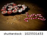 heart shaped from cupcakes with ... | Shutterstock . vector #1025531653