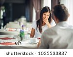 shocked woman in disbelief... | Shutterstock . vector #1025533837