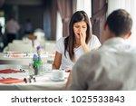 shocked woman in disbelief... | Shutterstock . vector #1025533843