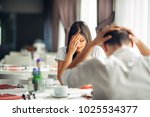 crying stressed woman arguing... | Shutterstock . vector #1025534377