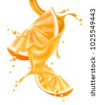 juice splash with orange slice... | Shutterstock .eps vector #1025549443