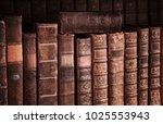 old books on wooden shelf. | Shutterstock . vector #1025553943