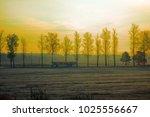morning village bus rides for...   Shutterstock . vector #1025556667