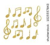 vector set of hand drawn golden ... | Shutterstock .eps vector #1025557843