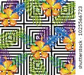 tropical flower with abstract... | Shutterstock .eps vector #1025566723